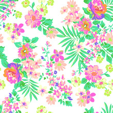 Neon Tropical Flower Print - S...