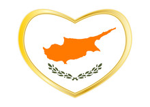 Flag Of Cyprus In Heart Shape,...