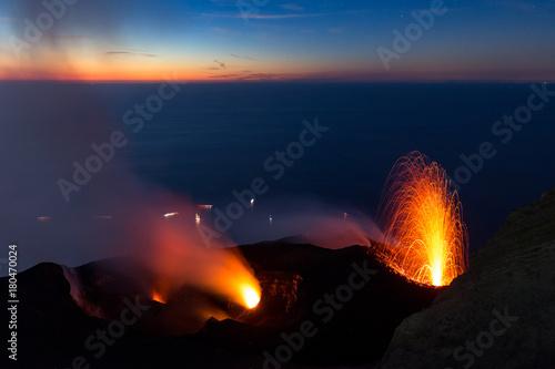 Deurstickers Vulkaan Lava fountain on the summit of the erupting volcano Stromboli, Italy, at sunset.