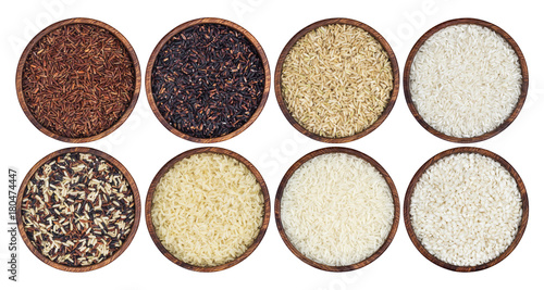 Fotografie, Obraz  Rice collection isolated on white background. Top view
