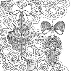 Monochrome Merry Christmas Illustration, Ethnic Motifs. Balls, Bows, Star Decorations on the Tree. Holiday Background in Doodle Line Style. Coloring Book Page. Vector Contour Art with Realistic Shadow