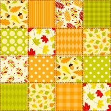 Green And Orange Autumn Pattern.