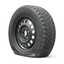 Punctured Car Wheel Isolated O...