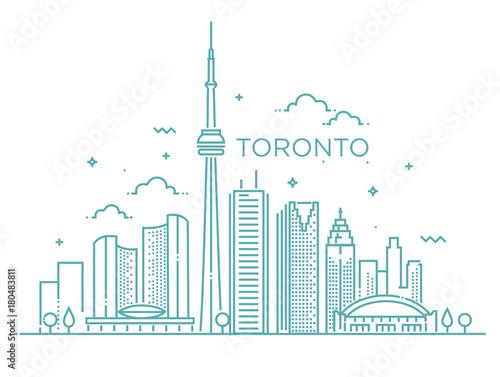 Linear banner of Toronto. Line art. Fototapete