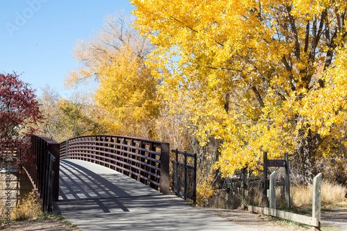 Footbridge over the Animas river in the autumn Canvas Print