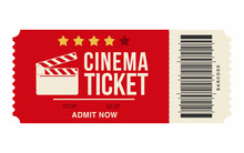 Cinema Ticket Isolated On Whit...