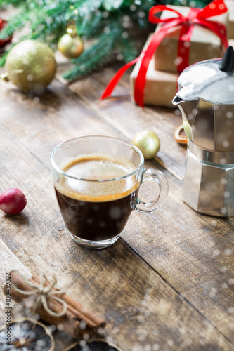 Coffee Christmas Morning.Glass Of Espresso Coffee On Vintage Wooden Table Christmas