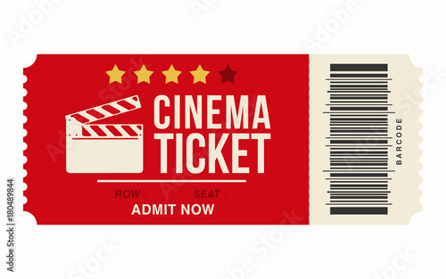 Fotografie, Obraz  Cinema ticket isolated on white background