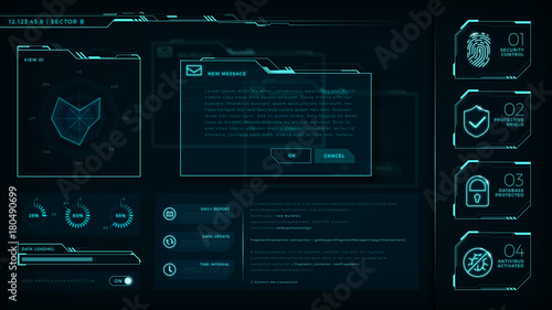 Fotografía HUD elements pack, transparent displays, command center, smart cities, interface