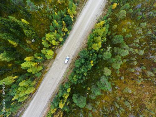 odgorny-widok-przy-samochodu-osobowego-jezdzeniem-wzdluz-drogi-gruntowej-miedzy-bagnami-w-jesien-lesie