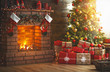 canvas print picture interior christmas. magic glowing tree, fireplace, gifts
