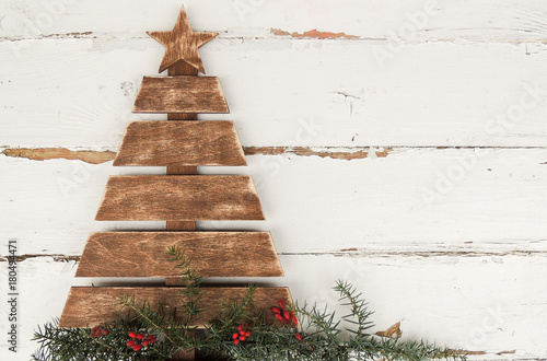 vintage wooden christmas tree on old rustic wooden white background - Rustic Wood Christmas Tree