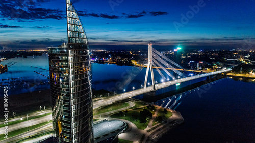 Photo Old Riga City Town and roads Air Drone pictures