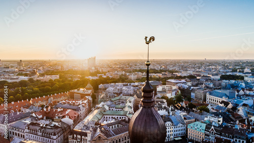 Fototapeta Old Riga City Town and roads Air Drone pictures