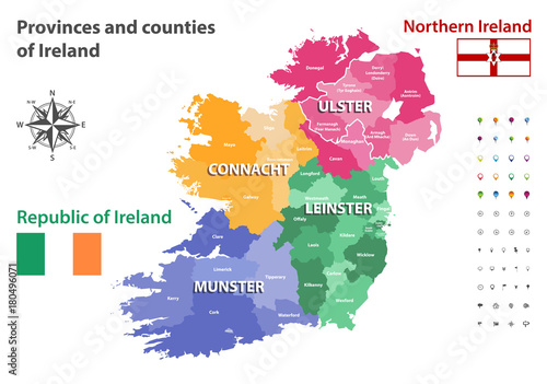 Map Of Northern Ireland Counties.Provinces And Counties Of Ireland Vector Map Buy This Stock Vector