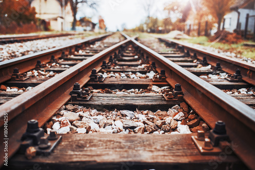 Poster Voies ferrées Train tracks, railroad. Transportation concept