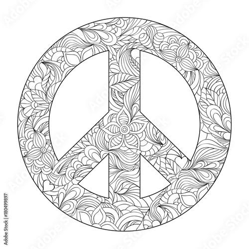floral peace symbol  Wall mural