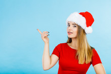 Woman Wearing Santa Claus Help...