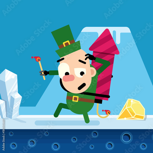 Elf Christmas song with a rocket in the winter location. Vector. Wallpaper Mural
