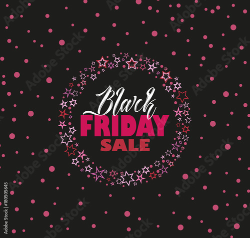 vector illustration black friday sale background with pink stars