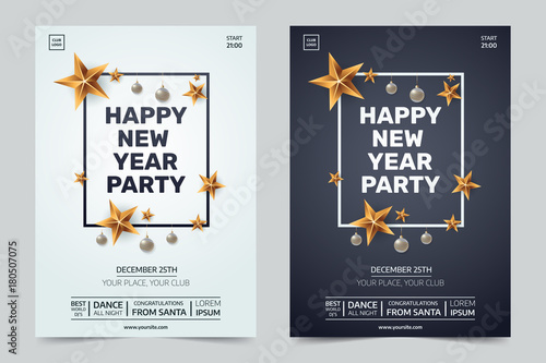 Happy new year party invitation. Black and white festive club posters with traditional decoration. Decorative frame with gold stars and Christmas balls. Xmas illustration.