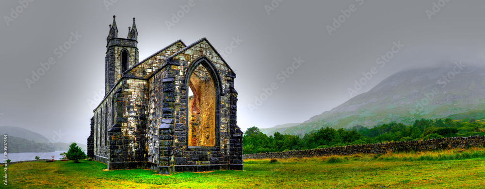 Fototapety, obrazy: Hdr processing of Dunlewey or Dunlewy church in Co. Donegal. Dún Lúiche Landscape of Ireland.