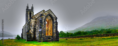 Photo sur Toile Lieu de culte Hdr processing of Dunlewey or Dunlewy church in Co. Donegal. Dún Lúiche Landscape of Ireland.