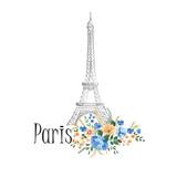 Fototapeta Fototapety z wieżą Eiffla - Paris background. Floral Paris sign with flowers, Eiffel tower.