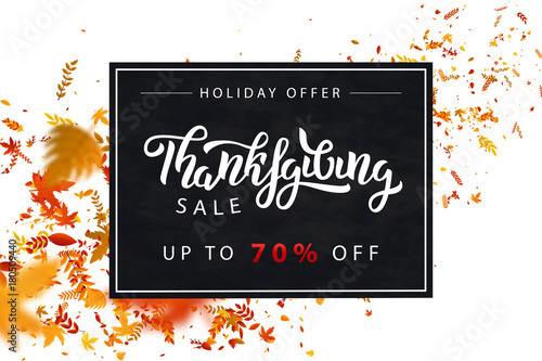 Fototapety, obrazy: Vector realistic isolated promo banner for Thanksgiving Day for decoration and covering. Concept of sale and holiday offer.