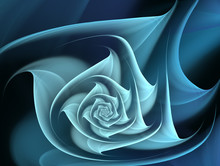Abstract Blue Fractal Flower On A Dark Background.