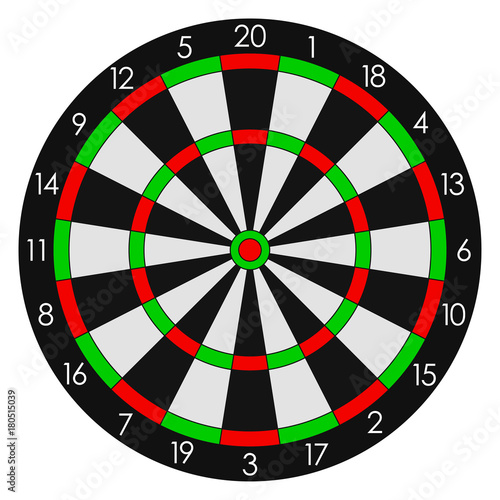 Fotografía Darts. Sports dartboard with twenty sectors. Vector illustration.
