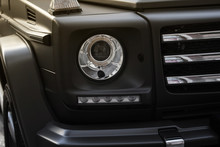 Suv Car Headlight Photo With Grille.
