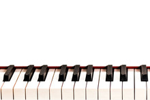 Black And White Keys Of A White Grand Piano. Copy Space. For Information On The Musical Theme.