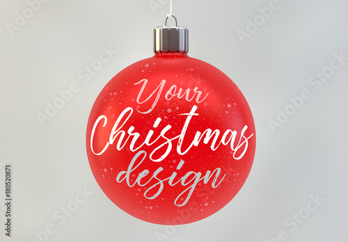 Red christmas ball ornament mockup . buy this stock template and
