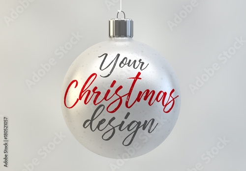 Christmas ball ornament mockup in white. buy this stock template