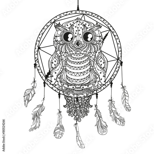 Dreamcatcher Owl Tattoo Art Mystic Symbol Abstract