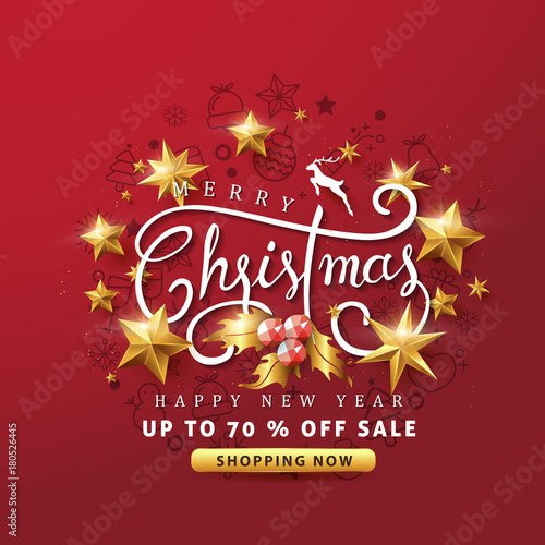 merry christmas and happy new year sale banner background with golden stars and christmas icon set