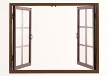 Wood Window Isolated On White