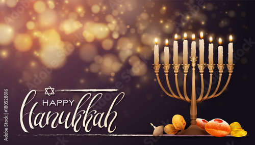 Leinwand Poster Jewish holiday Hanukkah background, realistic menorah (traditional candelabra), burning candles