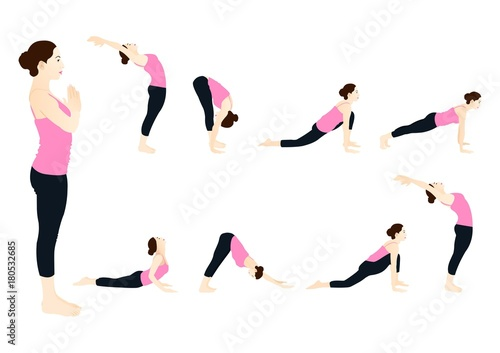 Sun Salutation Steps Buy This Stock Vector And Explore Similar