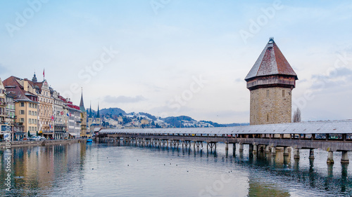 Stampa su Tela Lucerne, Switzerland - January 15, 2013: Historic city center of Lucerne with Fa