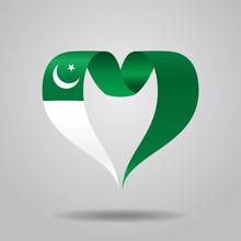 Pakistani Flag Heart-shaped Ribbon. Vector Illustration.