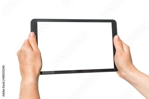 Obraz Tablet with blank white screen in female hands - fototapety do salonu