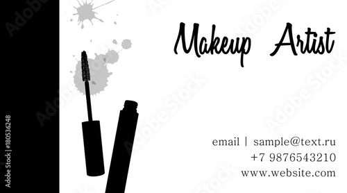 Makeup Artist Business Card Vector Template With Makeup Items Mascara Brush And Mascara Tube Beauty And Cosmetic Background Cosmetics Banner Set Vector Template Fashion And Beauty Illustration Buy This Stock Vector