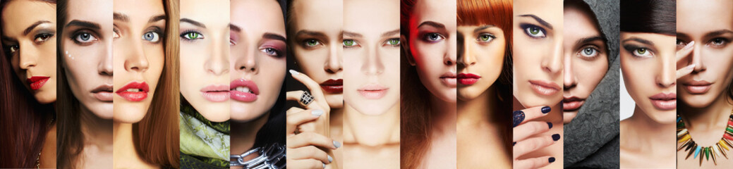 beauty collage.Faces of women.Makeup