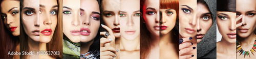 Fototapeta beauty collage.Faces of women.Makeup obraz
