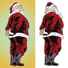 Happy Santa. Stock Illustration. People In Retro Style.