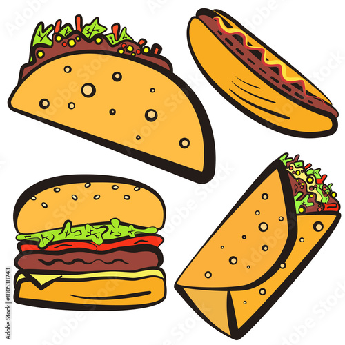 Colorful Fast Food Symbols Set With Black Outline Cartoon Flat