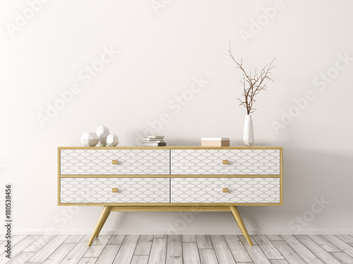 Interior with wooden sideboard 3d rendering Tablou Canvas