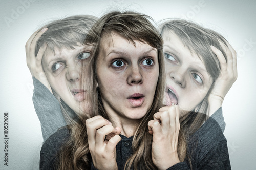 Woman with split personality suffers from schizophrenia Wallpaper Mural